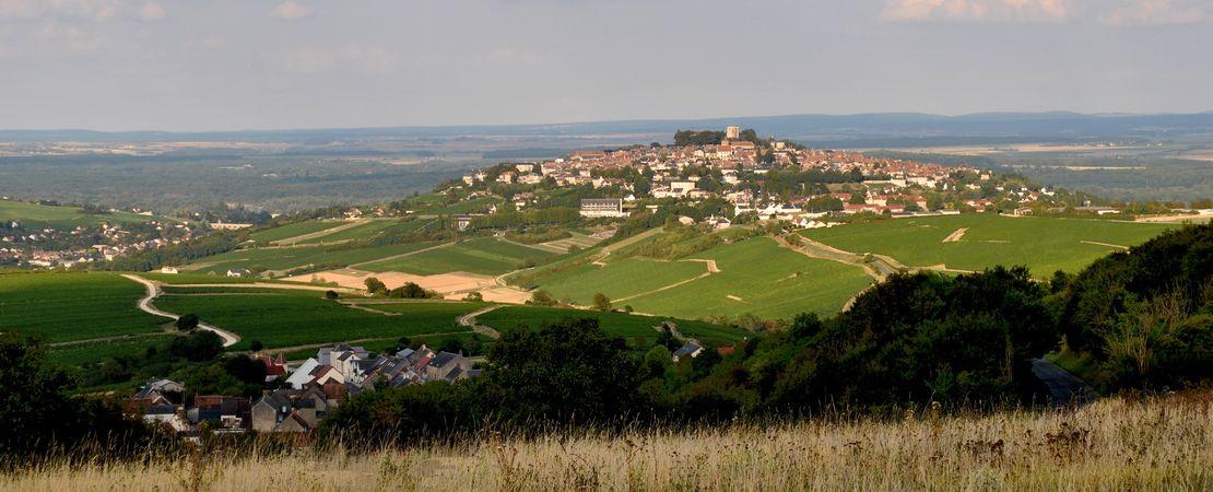 Vue sur la colline avec la ville de Sancerre au sommet